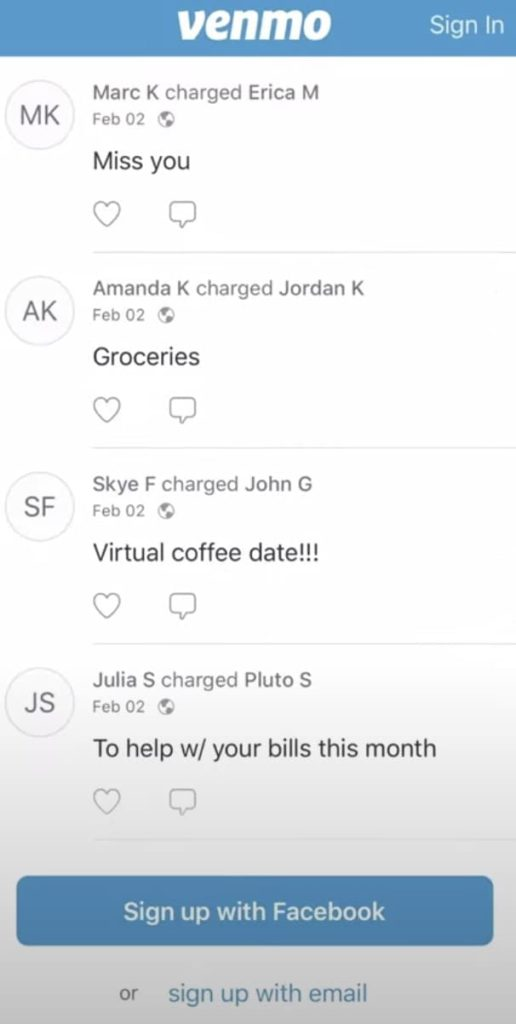 Venmo to PayPal home screen