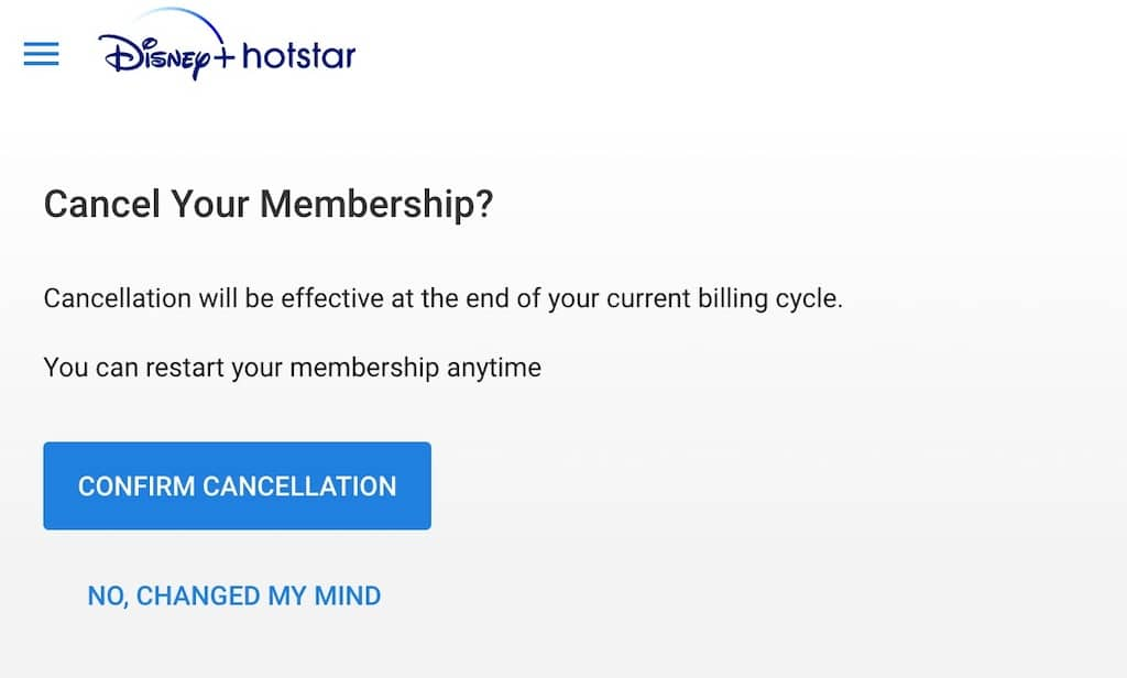 How to cancel Hotstar Subscription Cancel confirm