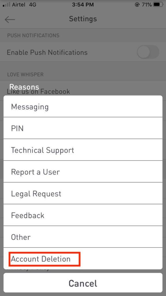 delete Whisper account on iOS device 3