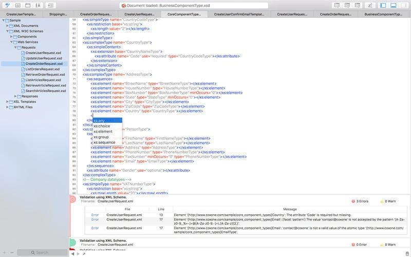 XML edita editor for Mac OS