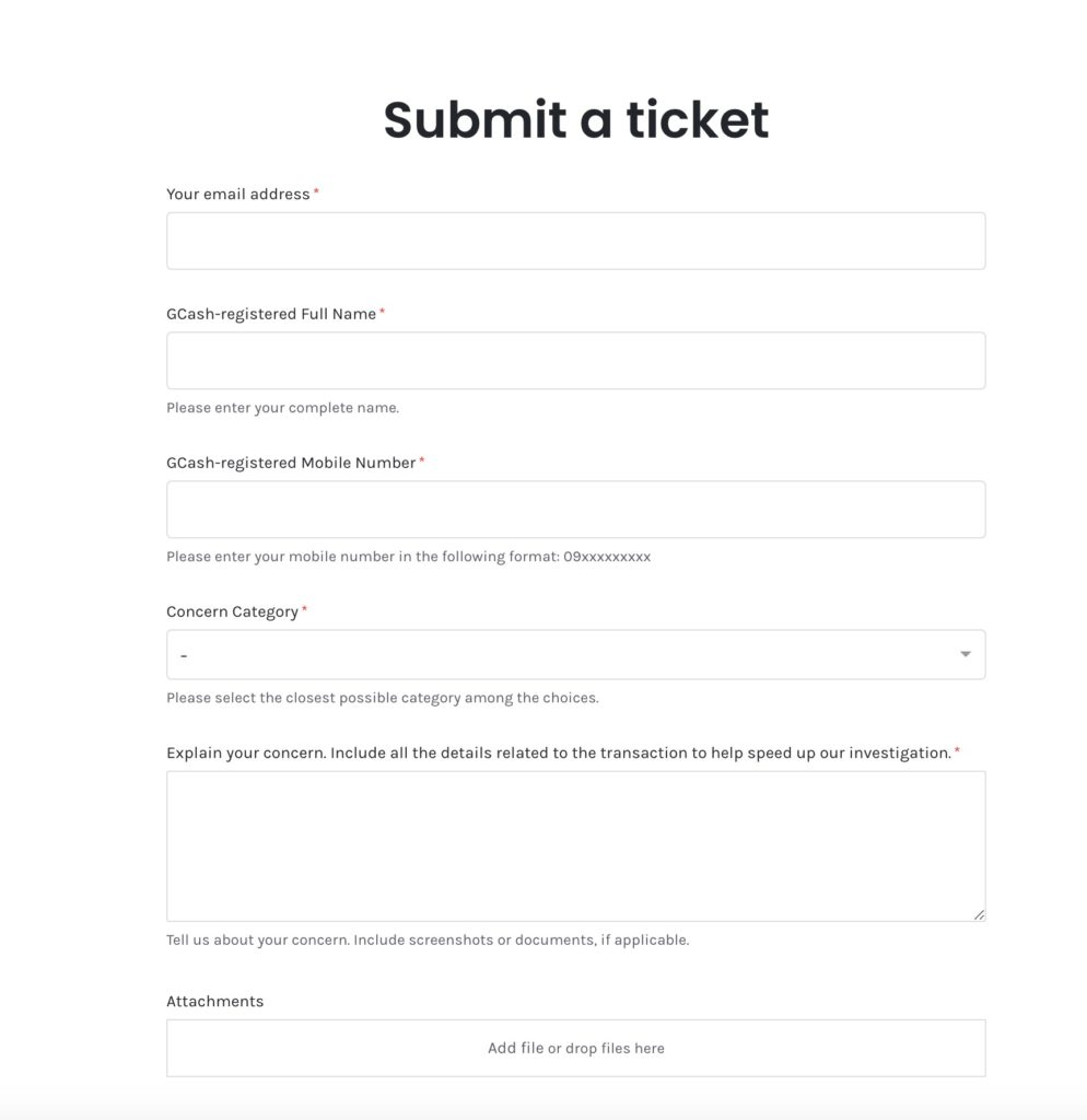 How to delete GCash account - submit ticket to raise concern