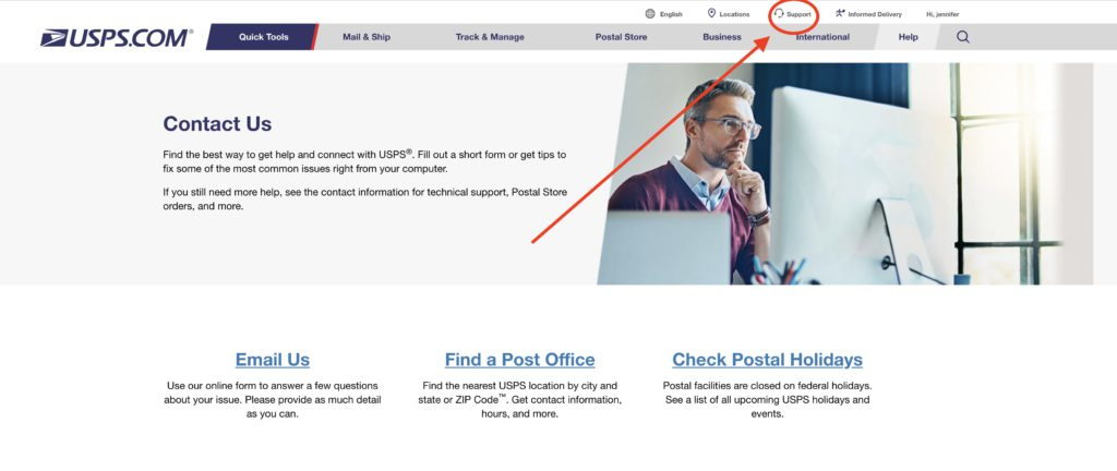 How to Delete USPS account step 1