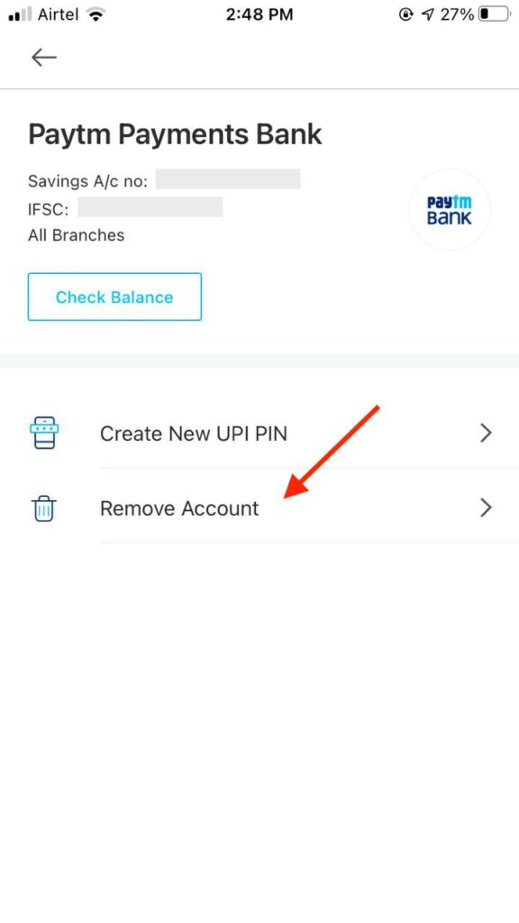 How to Remove Bank Account from Paytm - Easy 6 steps (With screenshots) 6