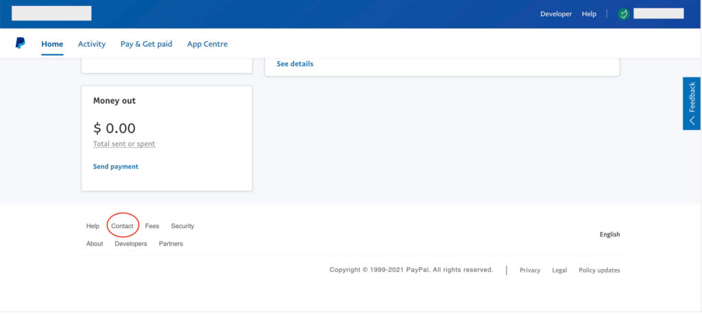 How to change PayPal from Business to Personal contact us button