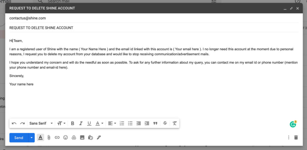 how to delete shine account - email template